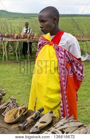 Woman Sells Traditional Souvenirs At Maasai Mara, Kenya