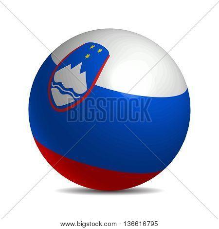 Slovenia flag on a 3d ball with shadow, vector illustration