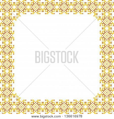 Frame, yellow, brown patterns on canvas, abstract embroidery, golden frame