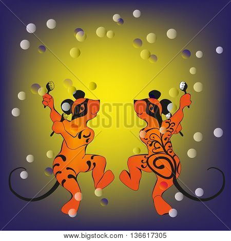 Mouses, tattooed dancing with maracas cute illustration