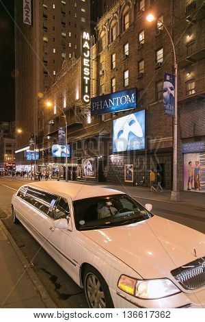 New York, NY, USA - September 16, 2014. Night shot of the Majestic Theater at West 44th Street