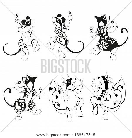 Squirrel, mouse, wombat tattooed dancing with maracas Set