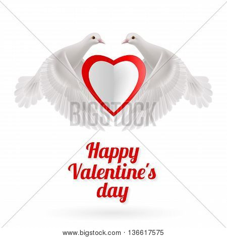 Two white doves holds white-red heart in wings on white background