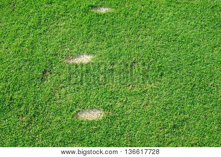 Three golf swing divot on the grass on teeing ground