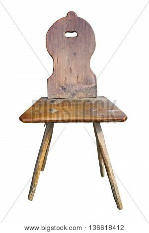 old handmade chair isolated over white background traditional romanian object from Maramures