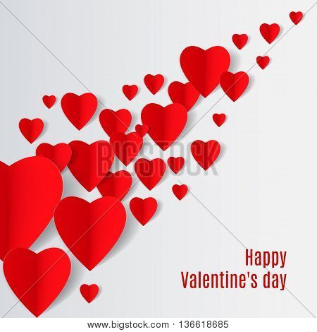 White Background with several red folded paper hearts