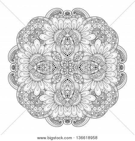 Vector Beautiful Deco Monochrome Contour Square