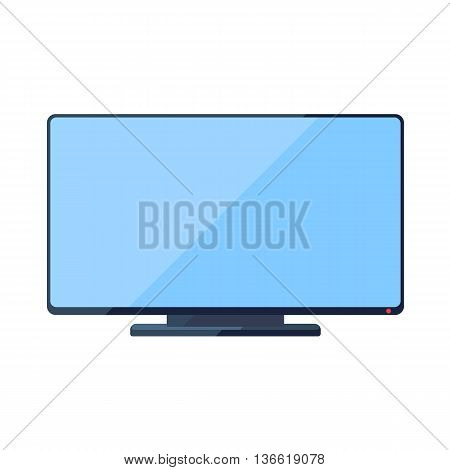 TV flat icon with wide blue screen