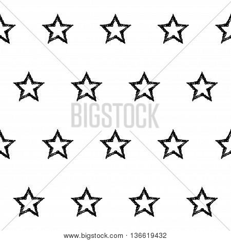 Handmade Doodle Monochrome Seamless Pattern Background.