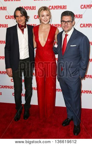 NEW YORK-NOV 18: (L-R) Michelangelo Di Battista, Kate Hudson and Gruppo Campari CEO Bob Kunze-Concewitz attend 2016 Campari Calendar Launch at The Standard Hotel on November 18, 2015 in New York City.