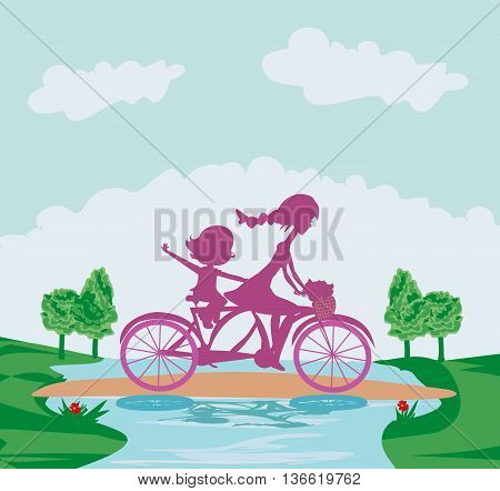 Mother and daughter silhouette biking on tandem  , vector illustration