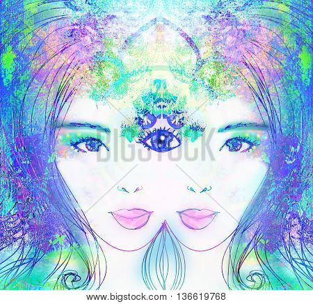 Woman with third eye psychic supernatural senses , raster