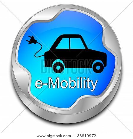 glossy blue e-Mobility Button - 3D illustration