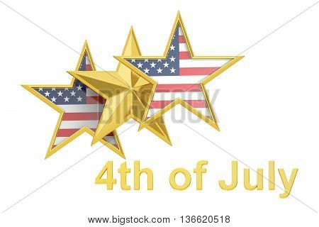 4th of July Independence Day concept with star and USA flag 3D rendering isolated on white background