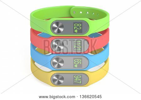 set of colored activity trackers or fitness bracelets 3D rendering isolated on white background