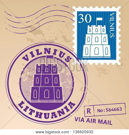Stamp set with words Vilnius, Lithuania inside, vector illustration
