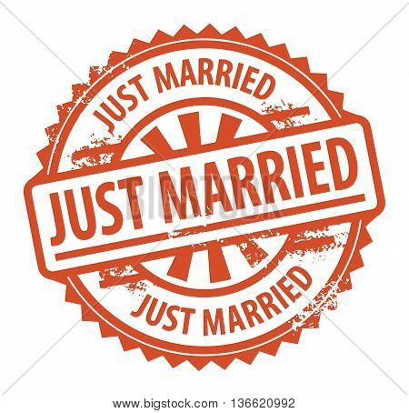 Abstract grunge rubber stamp with the text Just Married written inside the stamp, vector illustration