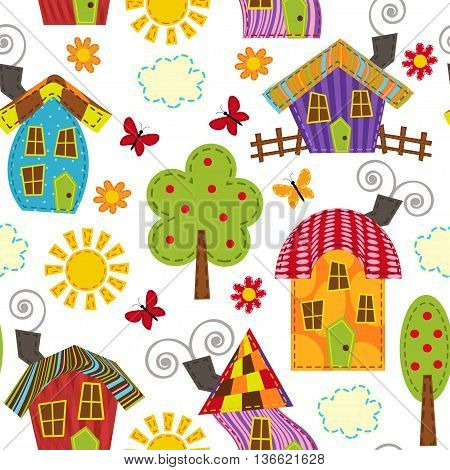 seamless pattern with houses - vector illustration, eps