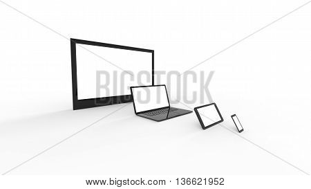 TV screen, nootebook, tablet, smartphone illustration concept