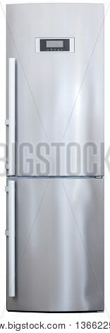 modern two-chamber stainless-steel refrigerator isolated on white front view