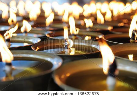 Spiritual oil lamps in temple. for meditation consciousness.