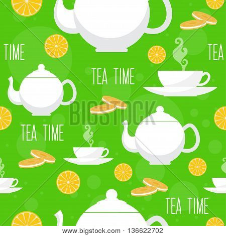 Tea time seamless pattern. Tea teapot, cookie and cup.