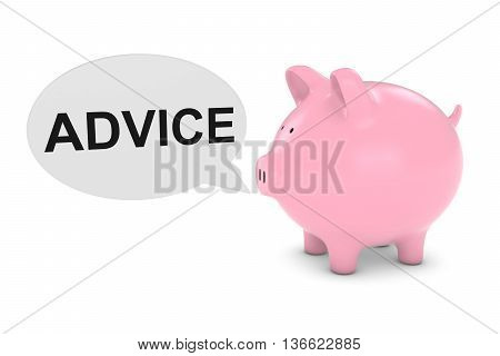 Financial Advice Concept - Piggy Bank With Speech Bubble 3D Illustration