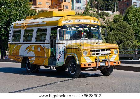 Bus On The Street Of La Paz,  Bolivia