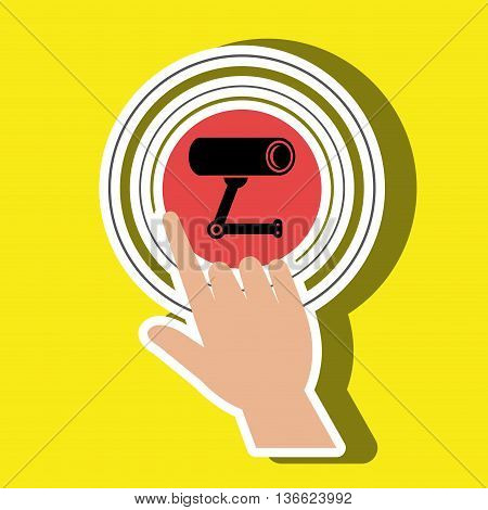 human hand selecting camera cctvisolated icon design, vector illustration  graphic