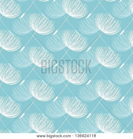 Abstract Fluffy Dandelion Flower Seamless Pattern. Vector Illustration