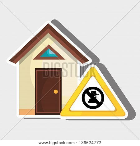 smart home with theft isolated icon design, vector illustration  graphic