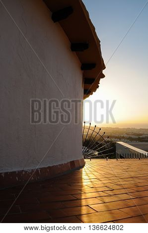 View From Roof At Dawn In Benalmadena, Costa Del Sol, Andalucia, Spain