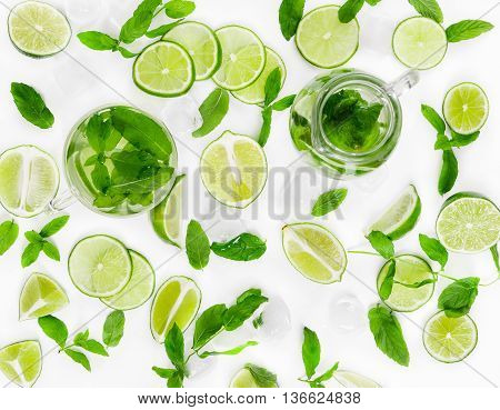 Tradition Summer Drink Mojito With Lime, Mint And Ice