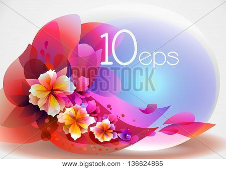 abstraction with flowers and a transparent spherical banner, objects are conveniently grouped by EPS 10