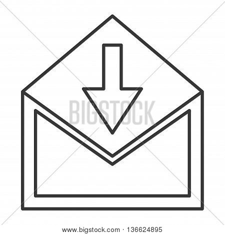 simple flat design envelope with downward arrow icon vector illustration