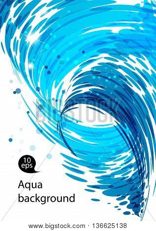 Water flow water stream falling spiral motion abstract blue background