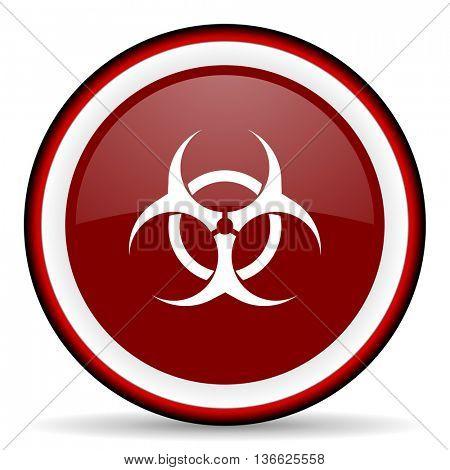 biohazard round glossy icon, modern design web element