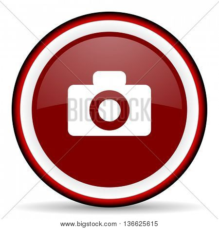 camera round glossy icon, modern design web element