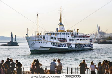 Istanbul, Turkey - May 29, 2016: Strait of Istanbul, Kadikoy Pier, Ferries are the most popular form of public transport in Istanbul for one simple reason - if you're a local, you're always in a hurry except when you're on a ferry travelling from one side