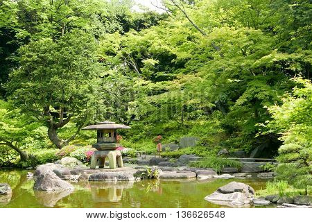Japanese Outdoor Stone Lantern, Green Plants In Zen Garden