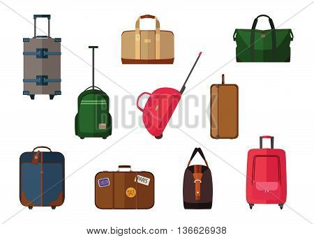 Different types of baggage carry-on luggage, bags, suitcases isolated. Set of vector travel baggage icons, eps 10 format.