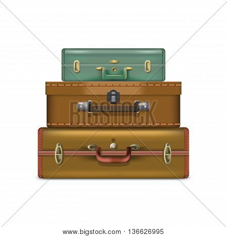 Realistic suitcases isolated on white background. Vector eps 10 format.
