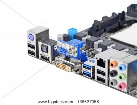 Connector of computer motherboard isolated on a white background