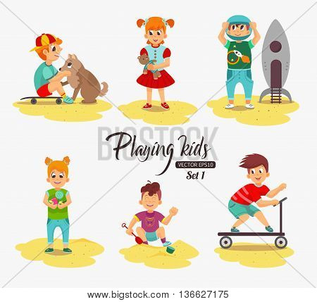 Cartoon kids playing. Boy playing with the dog, building sand, rides a scooter, holding a candy girl holding a teddy bear, boy astronaut. Vector eps 10 format.