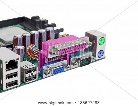 Connector of computer motherboard isolated on white background