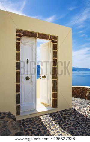 Sea view and architecture in Oia Santorini Greece