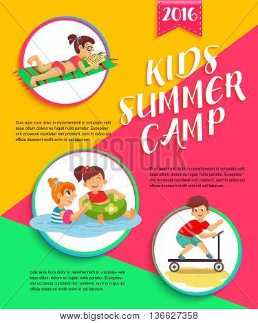 Kids summer camp poster. Children playing vector illustration.