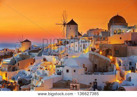 View of Oia at sunset Santorini, greece, Europe.