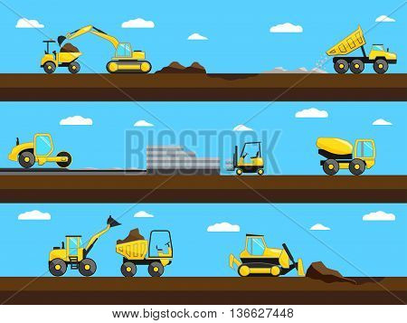 Construction process. Bulldozer, truck and excavator on a construction site. Vector illustration eps 10 format.