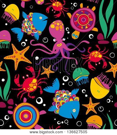 Cartoon set with sea live. Seamless pattern. Vector illustration.